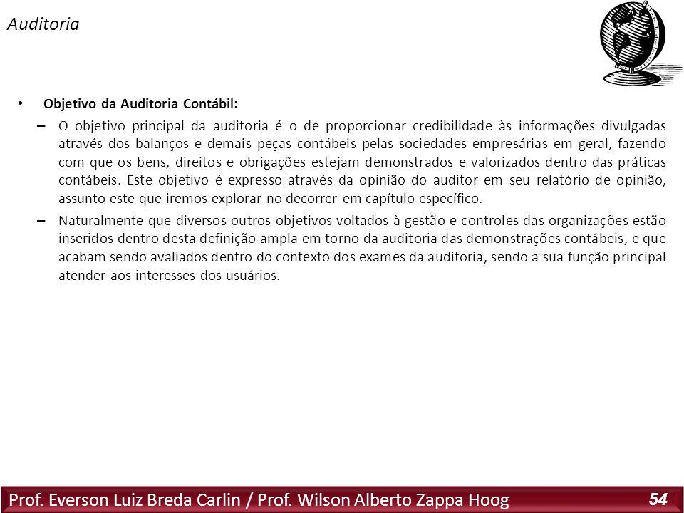 Prof. Everson Luiz Breda Carlin / Prof. Wilson Alberto Zappa Hoog 54 Objetivo da Auditoria Contábil: – O objetivo principal da auditoria é o de propor