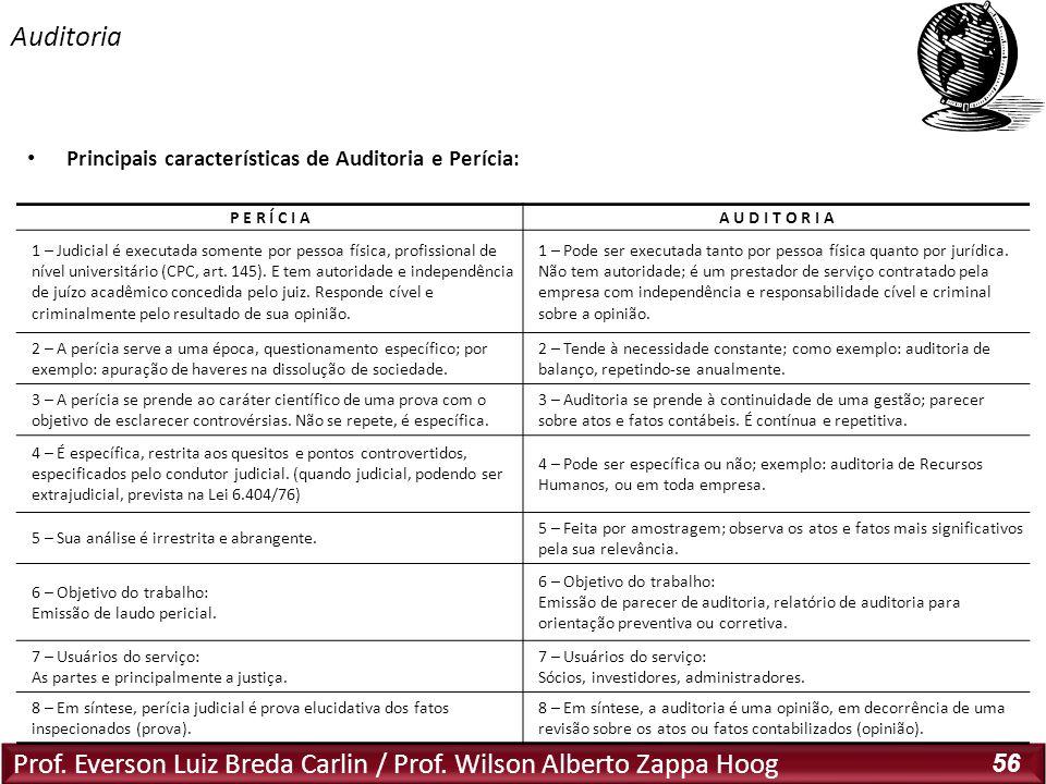 Prof. Everson Luiz Breda Carlin / Prof. Wilson Alberto Zappa Hoog 56 Principais características de Auditoria e Perícia: Auditoria P E R Í C I AA U D I