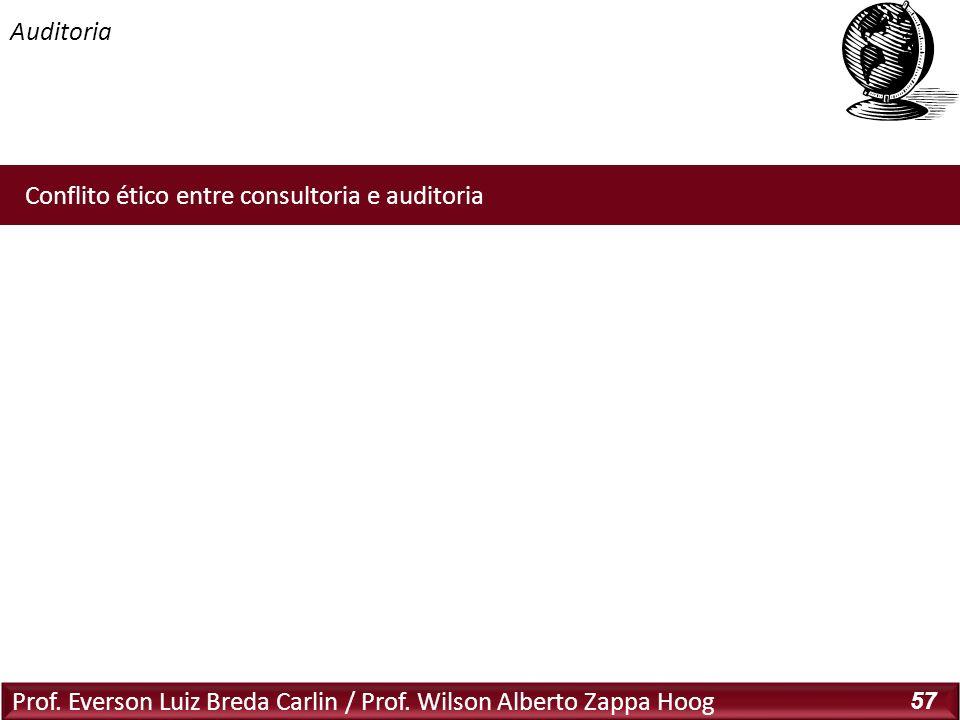 Auditoria Prof. Everson Luiz Breda Carlin / Prof. Wilson Alberto Zappa Hoog 57 Conflito ético entre consultoria e auditoria