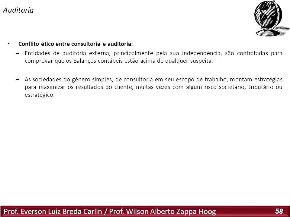 Prof. Everson Luiz Breda Carlin / Prof. Wilson Alberto Zappa Hoog 58 Conflito ético entre consultoria e auditoria: – Entidades de auditoria externa, p