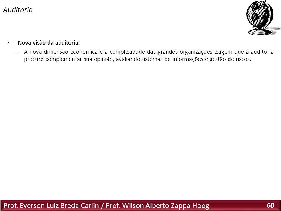 Prof. Everson Luiz Breda Carlin / Prof. Wilson Alberto Zappa Hoog 60 Nova visão da auditoria: – A nova dimensão econômica e a complexidade das grandes