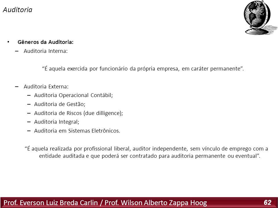 Prof. Everson Luiz Breda Carlin / Prof. Wilson Alberto Zappa Hoog 62 Gêneros da Auditoria: – Auditoria Interna: É aquela exercida por funcionário da p