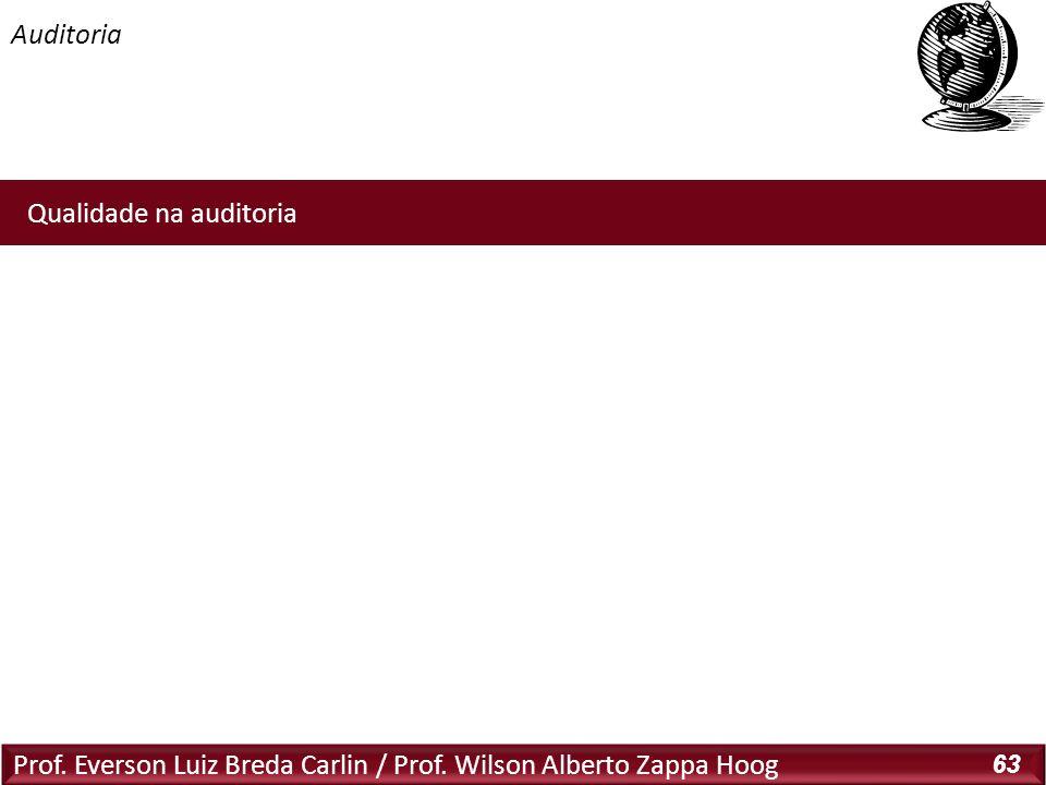 Prof. Everson Luiz Breda Carlin / Prof. Wilson Alberto Zappa Hoog 63 Qualidade na auditoria