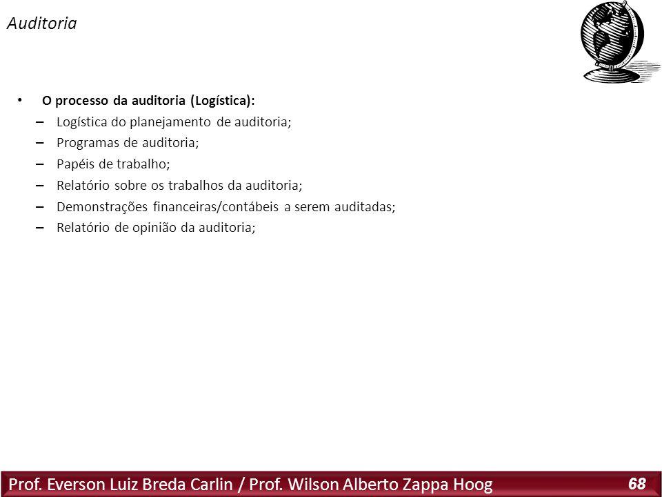 Prof. Everson Luiz Breda Carlin / Prof. Wilson Alberto Zappa Hoog 68 O processo da auditoria (Logística): – Logística do planejamento de auditoria; –