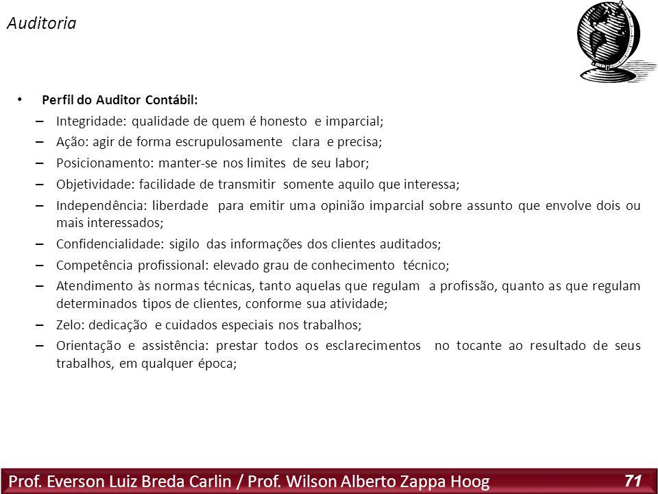 Prof. Everson Luiz Breda Carlin / Prof. Wilson Alberto Zappa Hoog 71 Perfil do Auditor Contábil: – Integridade: qualidade de quem é honesto e imparcia
