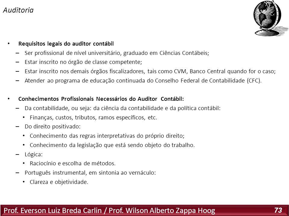 Prof. Everson Luiz Breda Carlin / Prof. Wilson Alberto Zappa Hoog 73 Requisitos legais do auditor contábil – Ser profissional de nível universitário,
