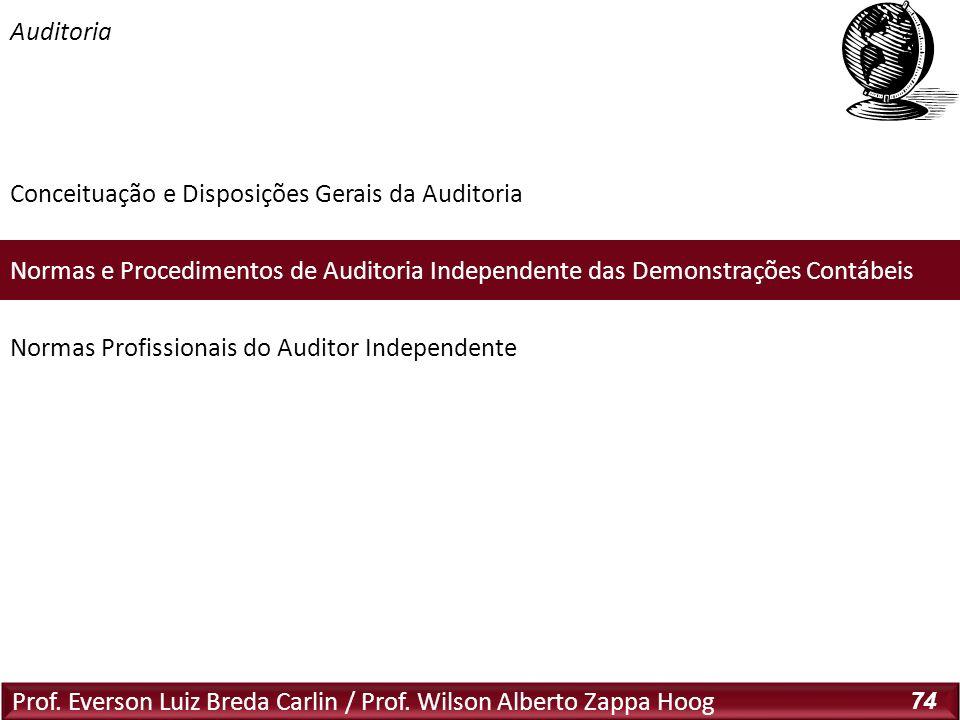 Prof. Everson Luiz Breda Carlin / Prof. Wilson Alberto Zappa Hoog 74 Conceituação e Disposições Gerais da Auditoria Normas e Procedimentos de Auditori