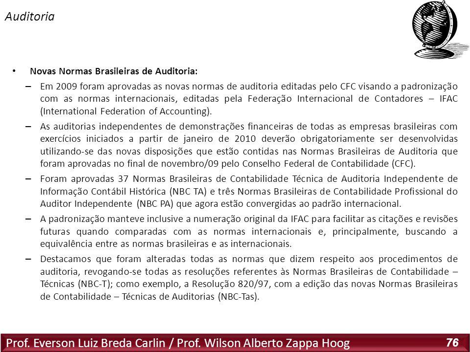 Prof. Everson Luiz Breda Carlin / Prof. Wilson Alberto Zappa Hoog 76 Novas Normas Brasileiras de Auditoria: – Em 2009 foram aprovadas as novas normas