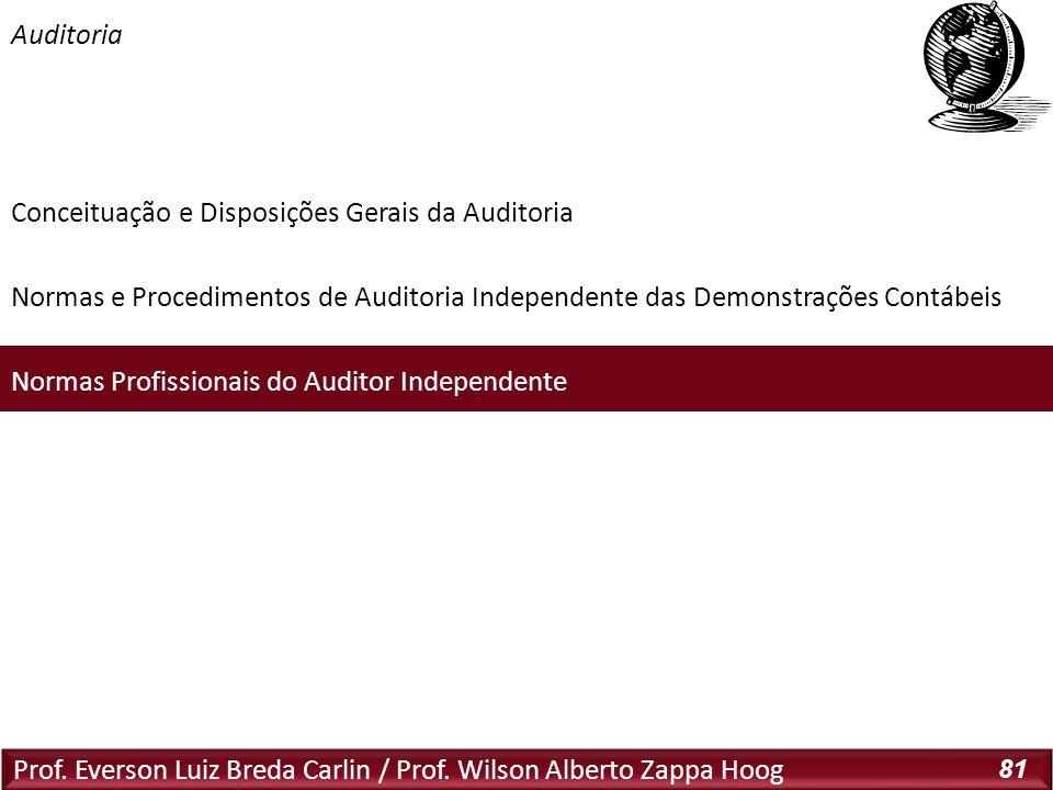 Auditoria Prof. Everson Luiz Breda Carlin / Prof. Wilson Alberto Zappa Hoog 81 Conceituação e Disposições Gerais da Auditoria Normas e Procedimentos d