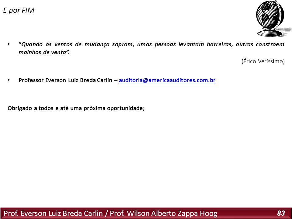 Prof. Everson Luiz Breda Carlin / Prof. Wilson Alberto Zappa Hoog 83 Quando os ventos de mudança sopram, umas pessoas levantam barreiras, outras const