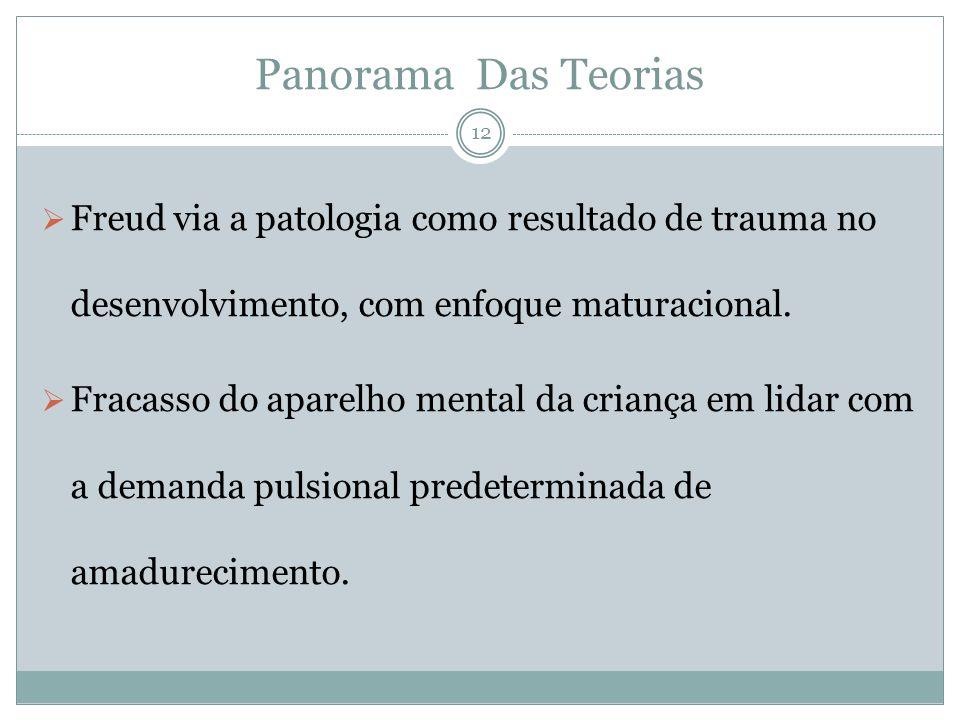Panorama Das Teorias Freud via a patologia como resultado de trauma no desenvolvimento, com enfoque maturacional. Fracasso do aparelho mental da crian