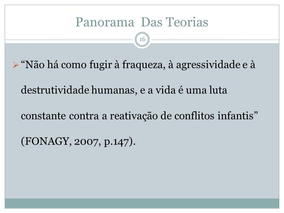 Panorama Das Teorias Não há como fugir à fraqueza, à agressividade e à destrutividade humanas, e a vida é uma luta constante contra a reativação de conflitos infantis (FONAGY, 2007, p.147).