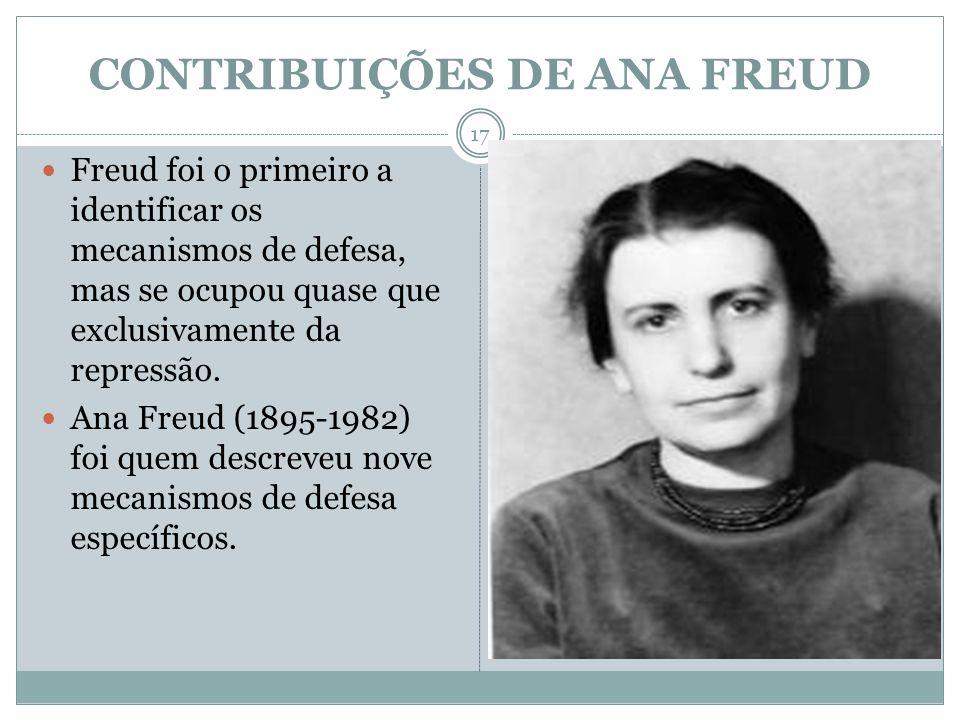 CONTRIBUIÇÕES DE ANA FREUD Freud foi o primeiro a identificar os mecanismos de defesa, mas se ocupou quase que exclusivamente da repressão. Ana Freud