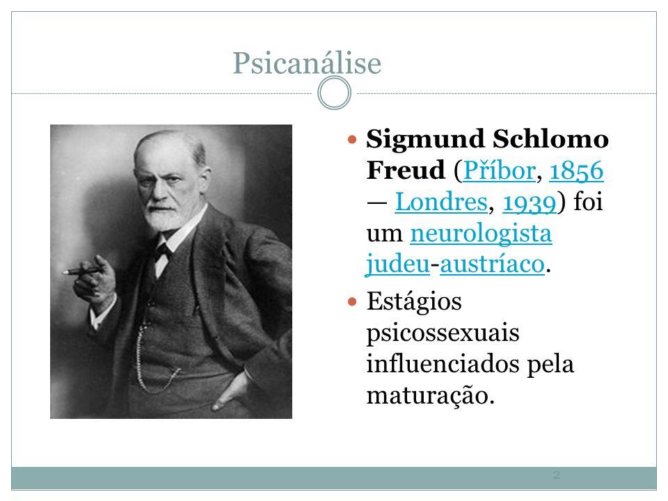 2 Psicanálise Sigmund Schlomo Freud (Příbor, 1856 Londres, 1939) foi um neurologista judeu-austríaco.Příbor1856Londres1939neurologista judeuaustríaco Estágios psicossexuais influenciados pela maturação.