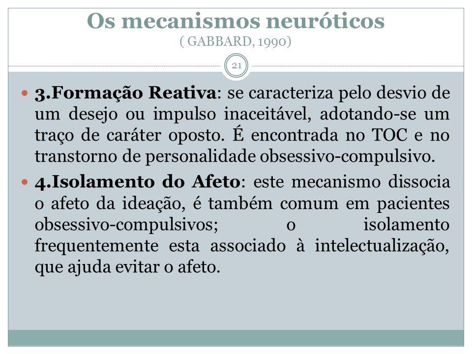Os mecanismos neuróticos ( GABBARD, 1990) 3.Formação Reativa: se caracteriza pelo desvio de um desejo ou impulso inaceitável, adotando-se um traço de caráter oposto.