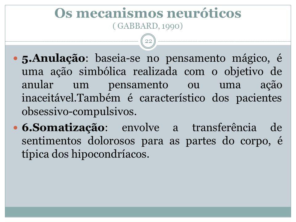 Os mecanismos neuróticos ( GABBARD, 1990) 5.Anulação: baseia-se no pensamento mágico, é uma ação simbólica realizada com o objetivo de anular um pensamento ou uma ação inaceitável.Também é característico dos pacientes obsessivo-compulsivos.