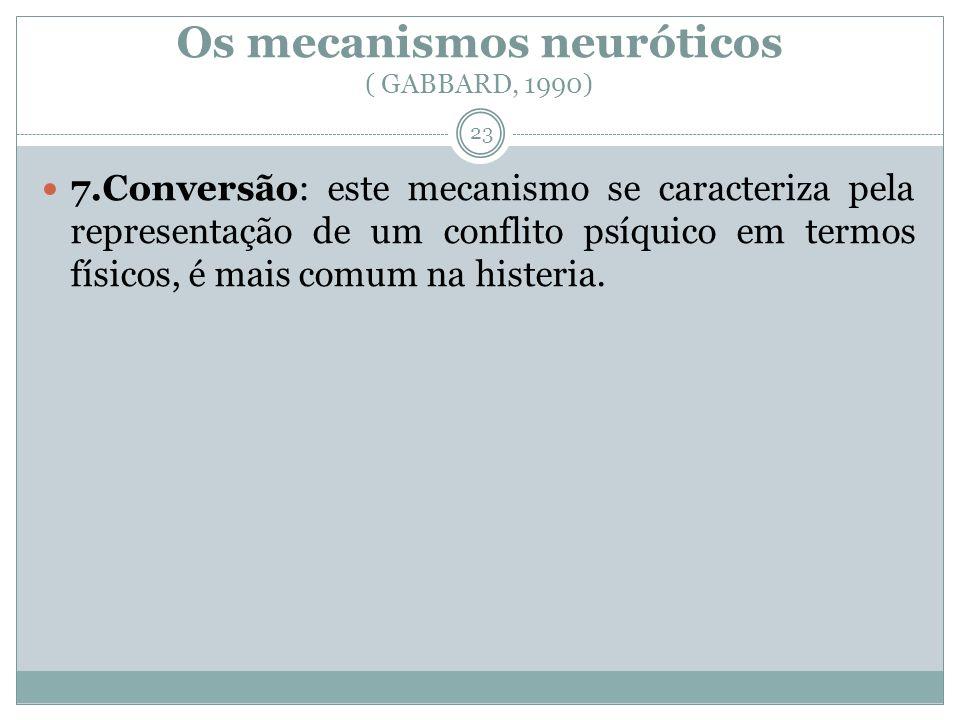 Os mecanismos neuróticos ( GABBARD, 1990) 7.Conversão: este mecanismo se caracteriza pela representação de um conflito psíquico em termos físicos, é mais comum na histeria.