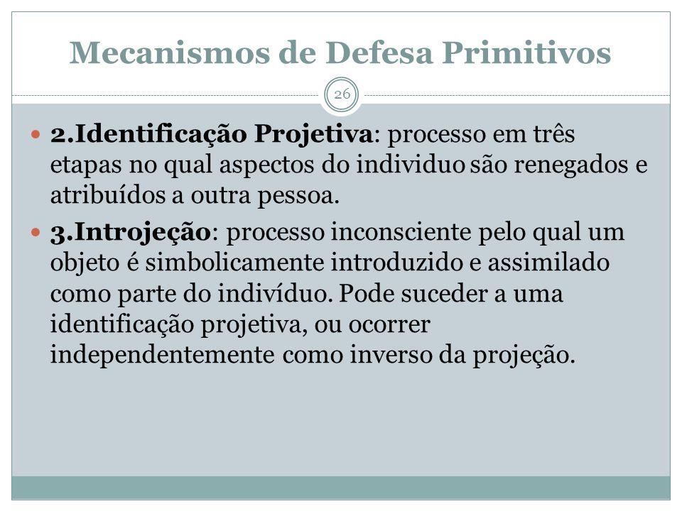 Mecanismos de Defesa Primitivos 2.Identificação Projetiva: processo em três etapas no qual aspectos do individuo são renegados e atribuídos a outra pessoa.