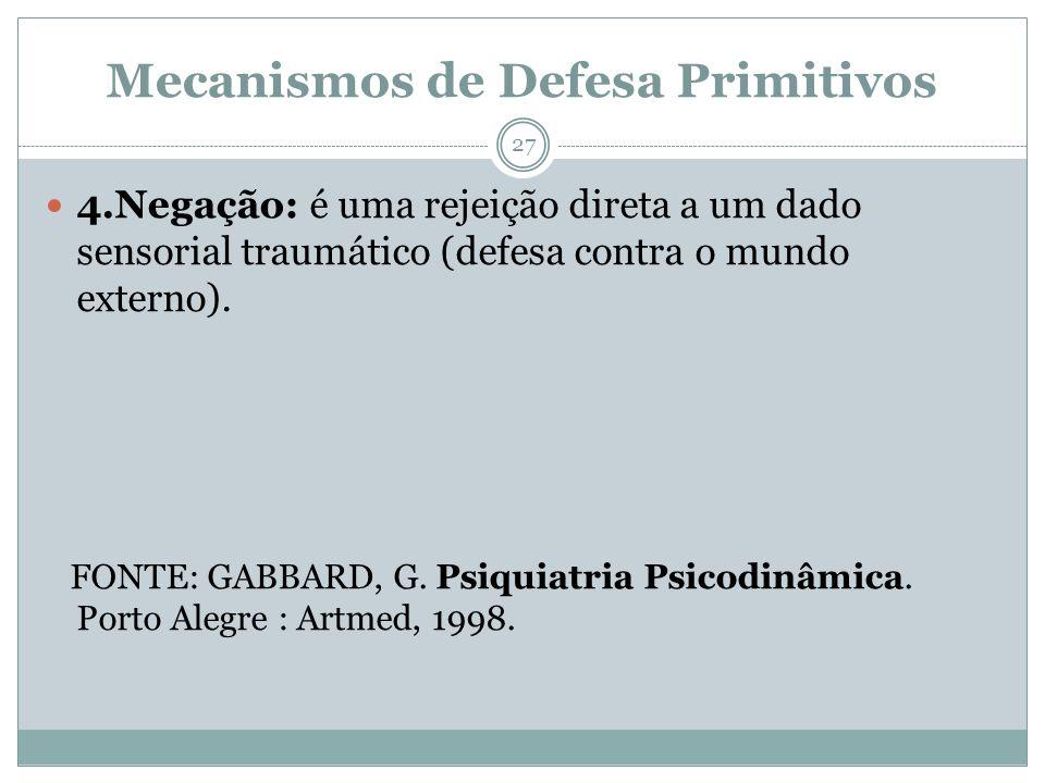 Mecanismos de Defesa Primitivos 4.Negação: é uma rejeição direta a um dado sensorial traumático (defesa contra o mundo externo). FONTE: GABBARD, G. Ps