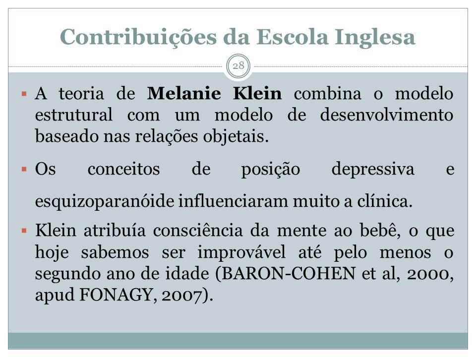 Contribuições da Escola Inglesa A teoria de Melanie Klein combina o modelo estrutural com um modelo de desenvolvimento baseado nas relações objetais.