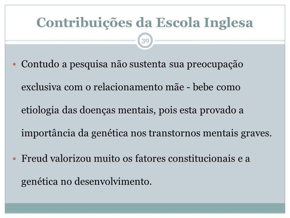 Contribuições da Escola Inglesa Contudo a pesquisa não sustenta sua preocupação exclusiva com o relacionamento mãe - bebe como etiologia das doenças m