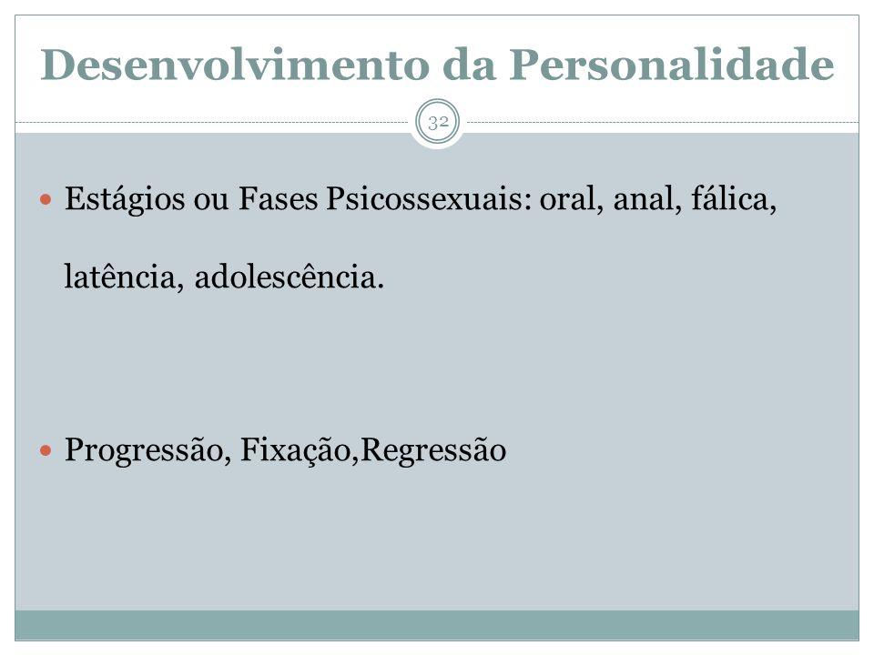 Desenvolvimento da Personalidade Estágios ou Fases Psicossexuais: oral, anal, fálica, latência, adolescência. Progressão, Fixação,Regressão 32