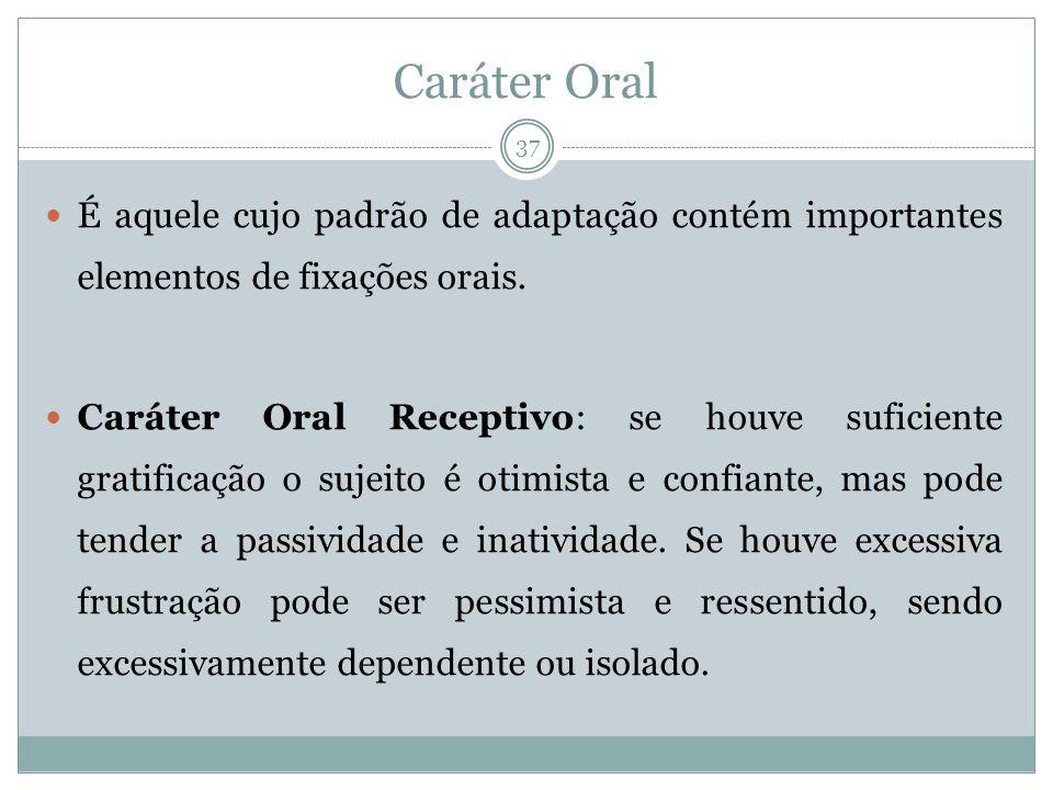 Caráter Oral É aquele cujo padrão de adaptação contém importantes elementos de fixações orais. Caráter Oral Receptivo: se houve suficiente gratificaçã