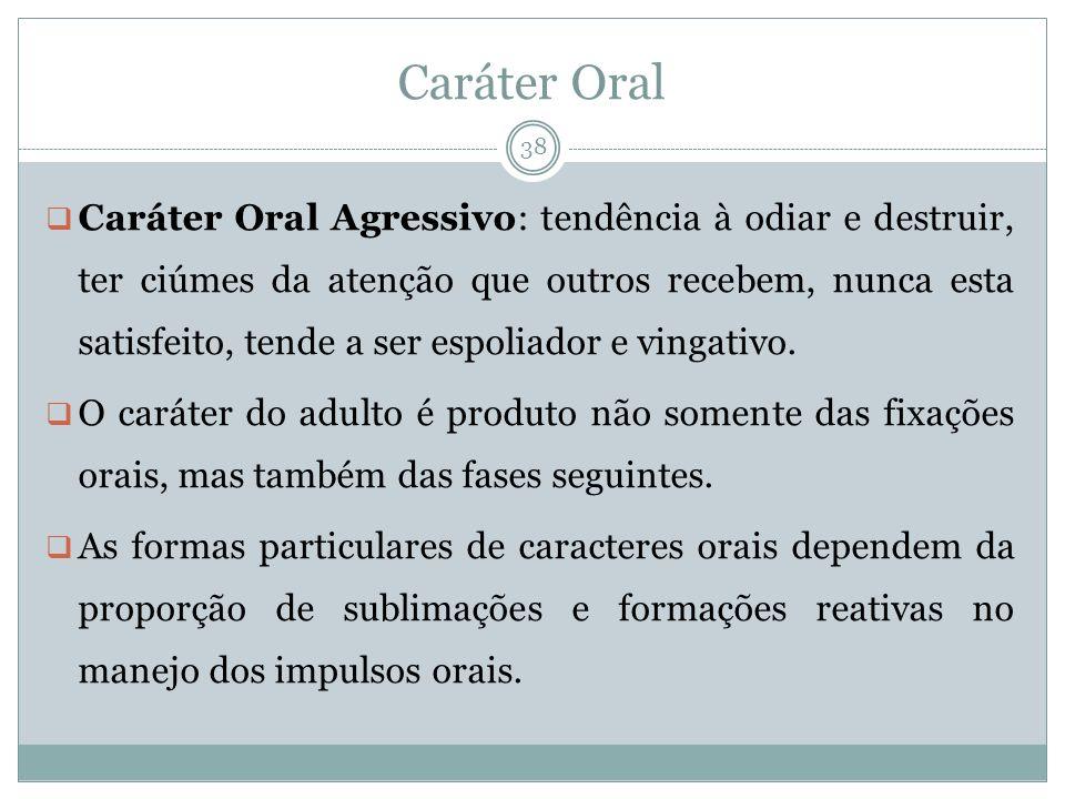 Caráter Oral Caráter Oral Agressivo: tendência à odiar e destruir, ter ciúmes da atenção que outros recebem, nunca esta satisfeito, tende a ser espoliador e vingativo.