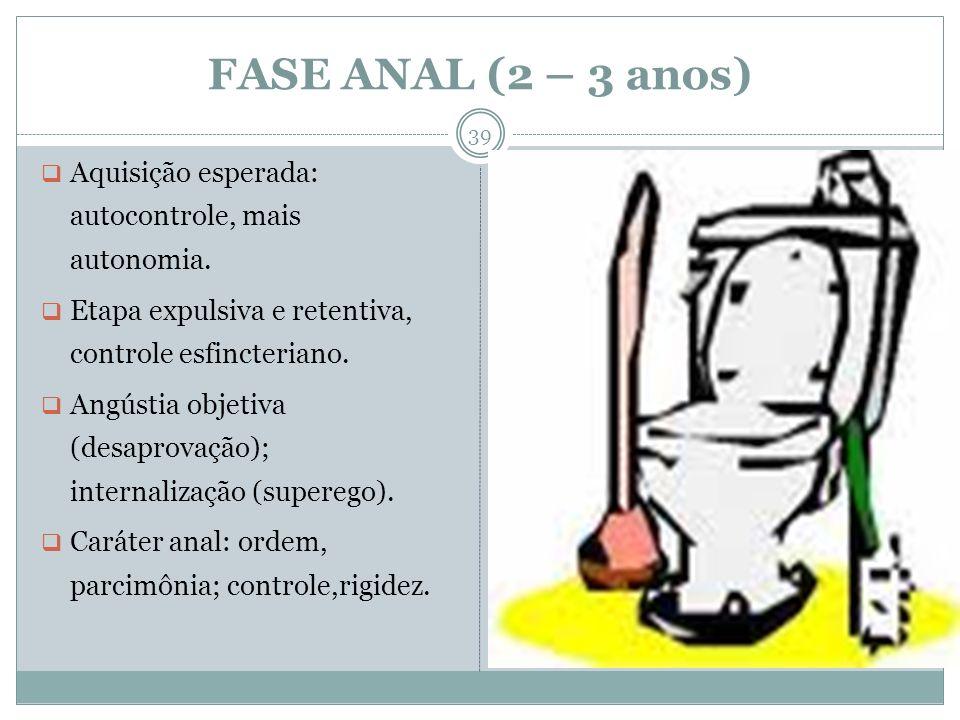 FASE ANAL (2 – 3 anos) Aquisição esperada: autocontrole, mais autonomia. Etapa expulsiva e retentiva, controle esfincteriano. Angústia objetiva (desap