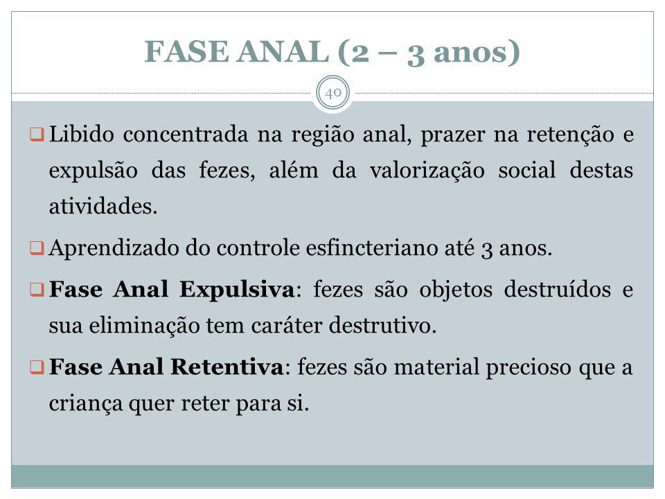 FASE ANAL (2 – 3 anos) Libido concentrada na região anal, prazer na retenção e expulsão das fezes, além da valorização social destas atividades. Apren