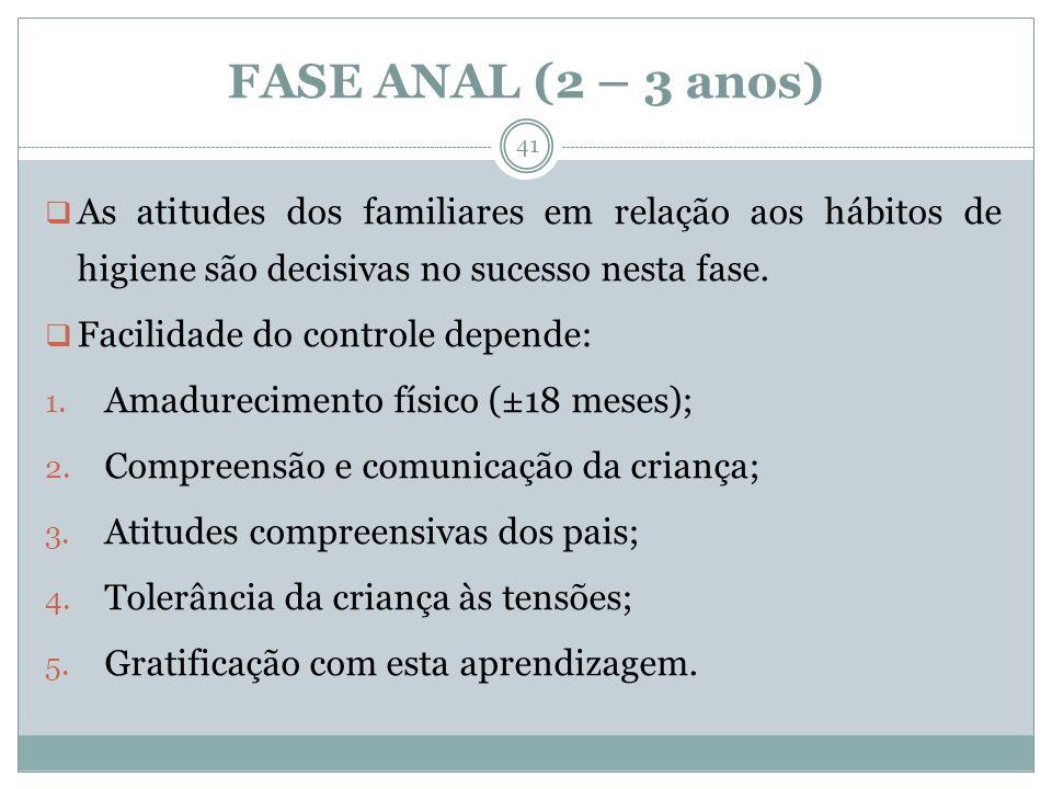 FASE ANAL (2 – 3 anos) As atitudes dos familiares em relação aos hábitos de higiene são decisivas no sucesso nesta fase. Facilidade do controle depend