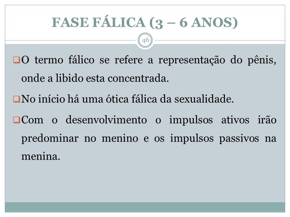 FASE FÁLICA (3 – 6 ANOS) O termo fálico se refere a representação do pênis, onde a libido esta concentrada. No início há uma ótica fálica da sexualida