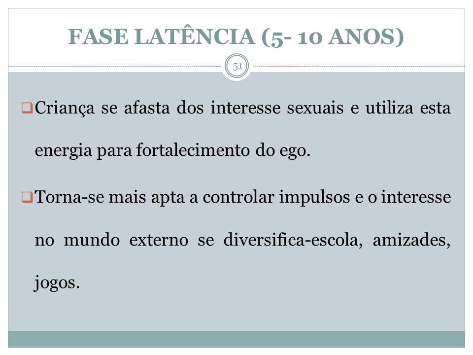 FASE LATÊNCIA (5- 10 ANOS) Criança se afasta dos interesse sexuais e utiliza esta energia para fortalecimento do ego.