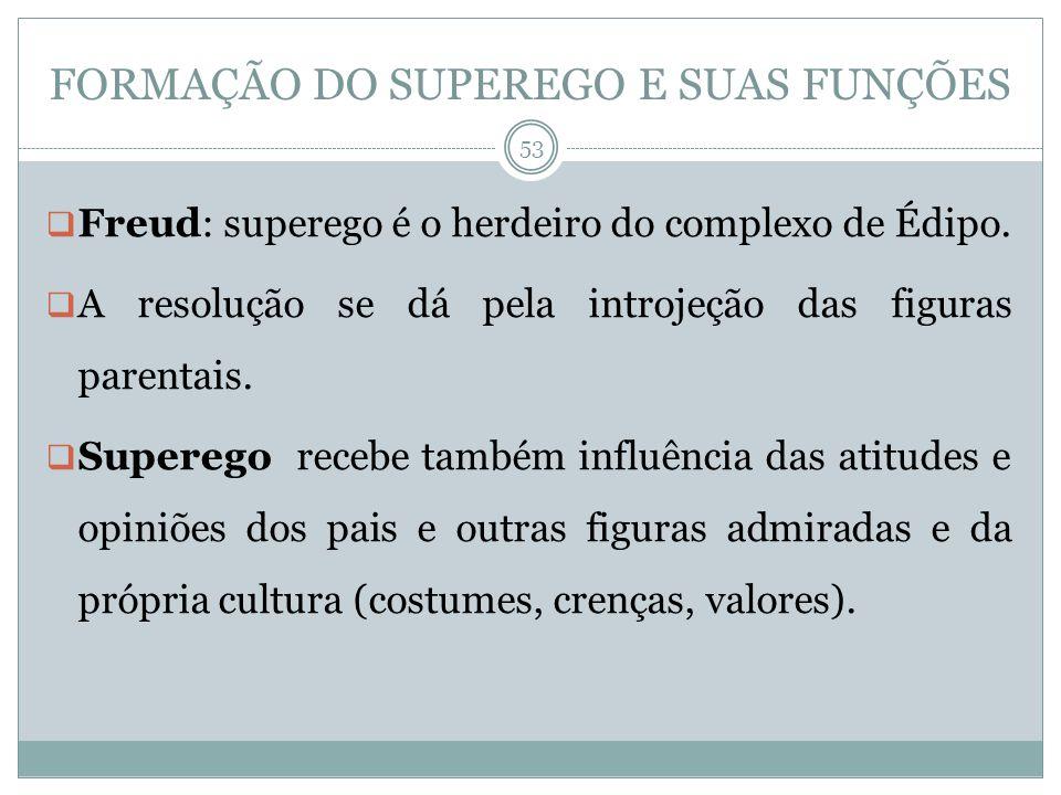 FORMAÇÃO DO SUPEREGO E SUAS FUNÇÕES Freud: superego é o herdeiro do complexo de Édipo. A resolução se dá pela introjeção das figuras parentais. Supere