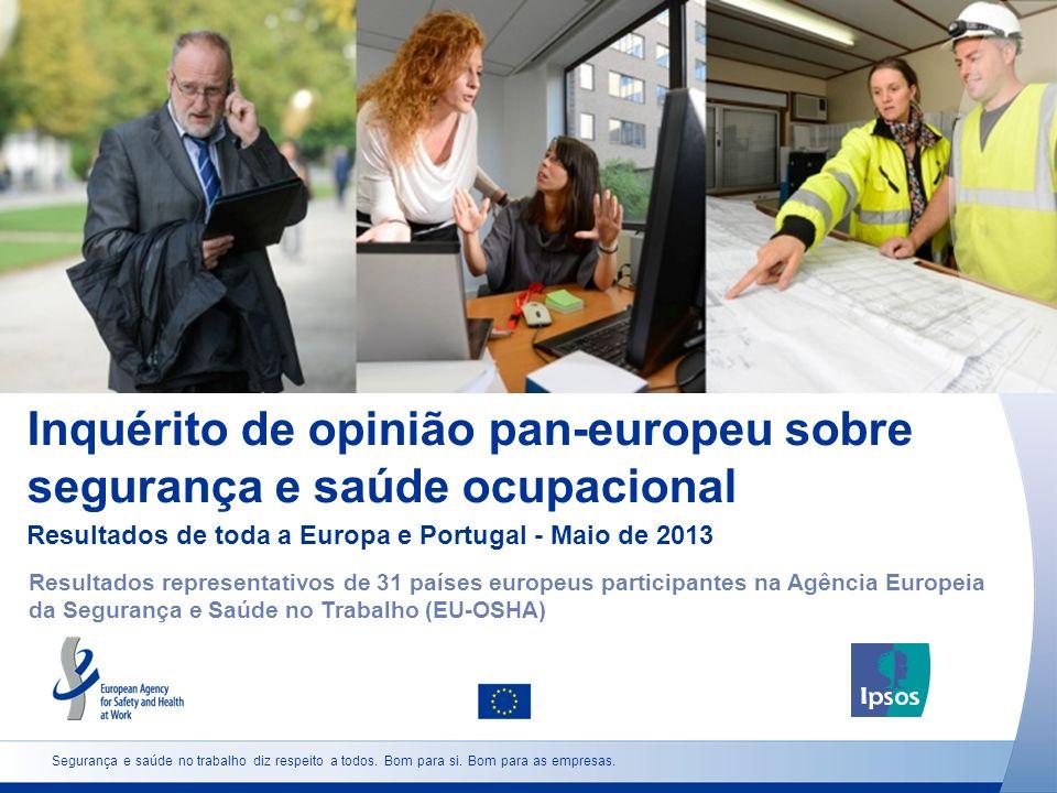 Inquérito de opinião pan-europeu sobre segurança e saúde ocupacional Resultados de toda a Europa e Portugal - Maio de 2013 Causas comuns do stress relacionado com o trabalho Segurança e saúde no trabalho diz respeito a todos.