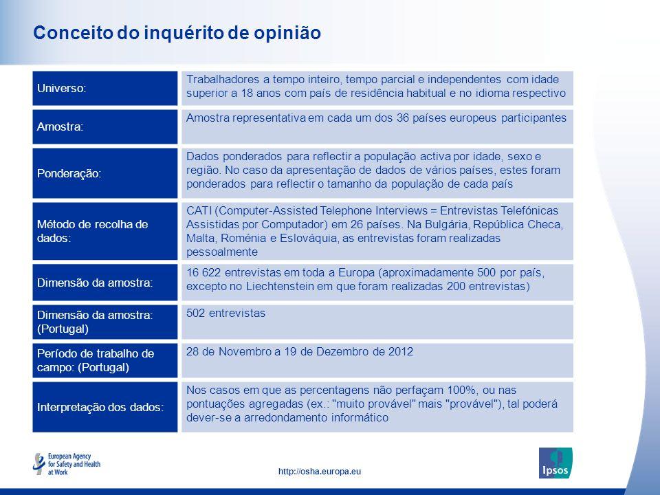 43 http://osha.europa.eu Casos de stress relacionado com o trabalho (Portugal) Até que ponto é comum existirem casos de stress relacionado com o trabalho, no seu local de trabalho.