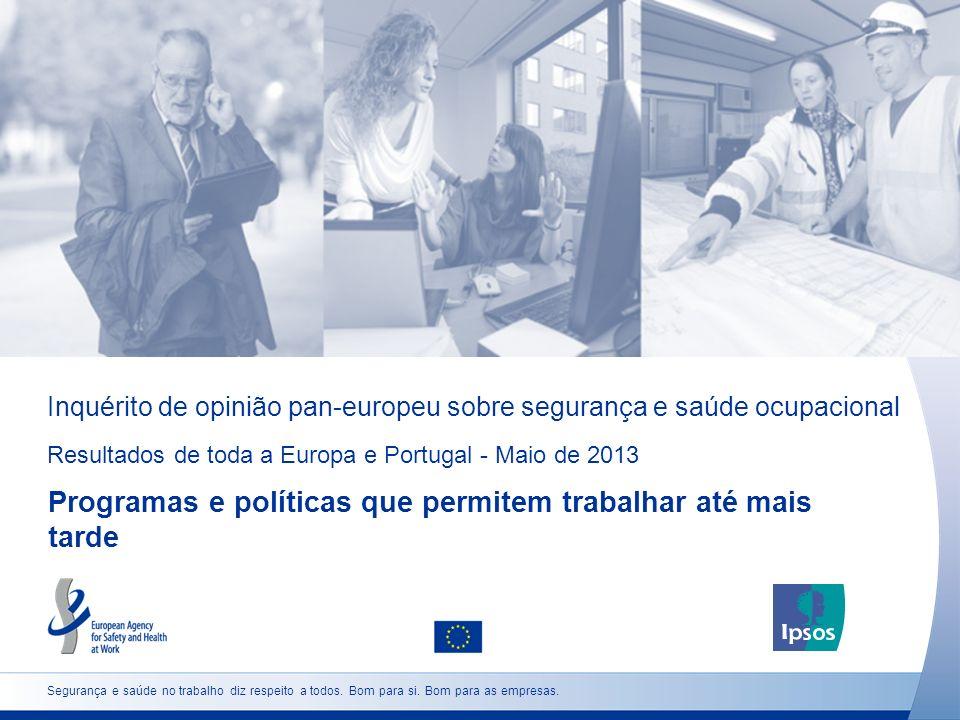 Inquérito de opinião pan-europeu sobre segurança e saúde ocupacional Resultados de toda a Europa e Portugal - Maio de 2013 Programas e políticas que p