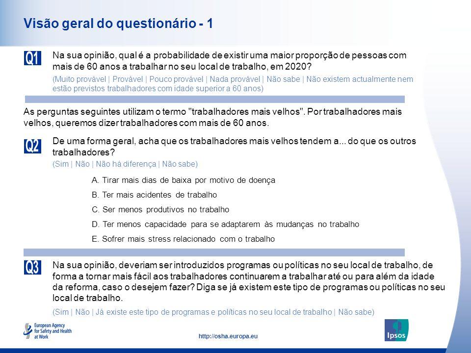 4 http://osha.europa.eu Visão geral do questionário - 1 Na sua opinião, qual é a probabilidade de existir uma maior proporção de pessoas com mais de 6