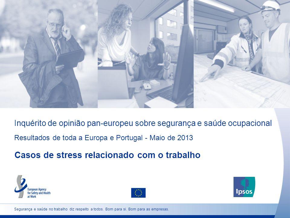Inquérito de opinião pan-europeu sobre segurança e saúde ocupacional Resultados de toda a Europa e Portugal - Maio de 2013 Casos de stress relacionado