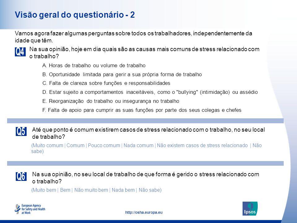 5 http://osha.europa.eu Visão geral do questionário - 2 Na sua opinião, hoje em dia quais são as causas mais comuns de stress relacionado com o trabal