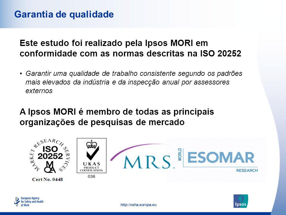 53 http://osha.europa.eu Este estudo foi realizado pela Ipsos MORI em conformidade com as normas descritas na ISO 20252 Garantia de qualidade A Ipsos