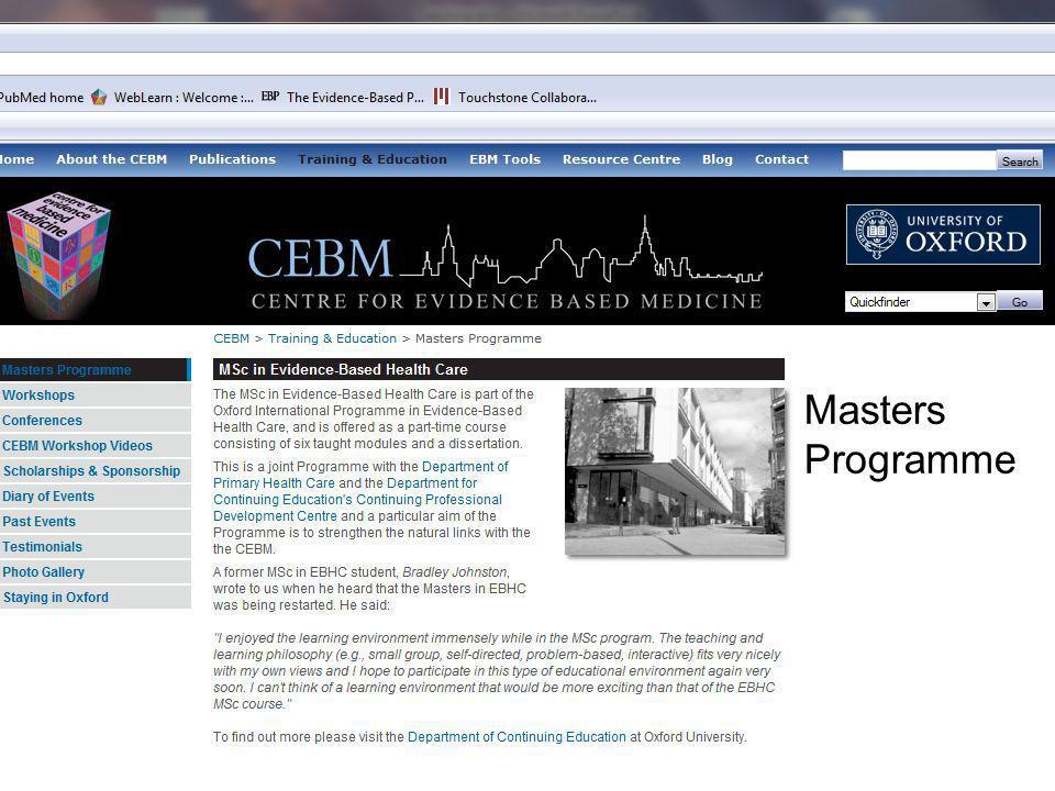 www.cebm.net Masters Programme