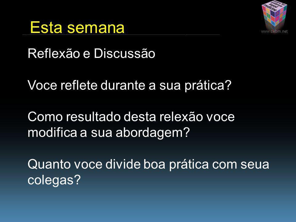 www.cebm.net Reflexão e Discussão Voce reflete durante a sua prática.