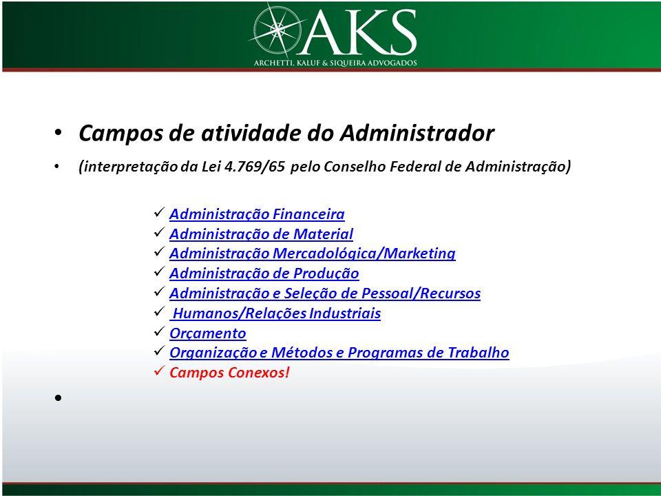 Campos de atividade do Administrador (interpretação da Lei 4.769/65 pelo Conselho Federal de Administração) Administração Financeira Administração de