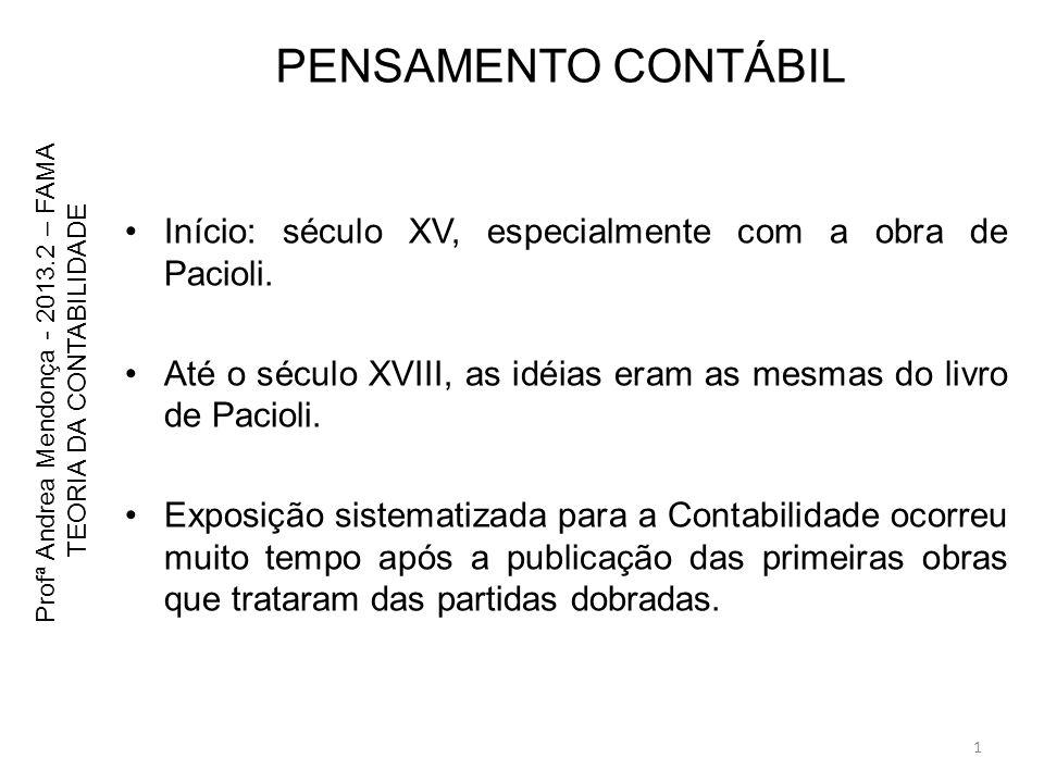 PENSAMENTO CONTÁBIL Início: século XV, especialmente com a obra de Pacioli. Até o século XVIII, as idéias eram as mesmas do livro de Pacioli. Exposiçã