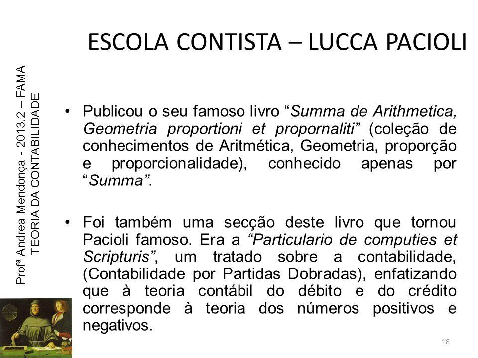 ESCOLA CONTISTA – LUCCA PACIOLI Publicou o seu famoso livro Summa de Arithmetica, Geometria proportioni et propornaliti (coleção de conhecimentos de A