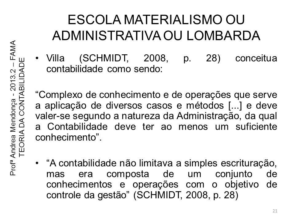 ESCOLA MATERIALISMO OU ADMINISTRATIVA OU LOMBARDA Villa (SCHMIDT, 2008, p. 28) conceitua contabilidade como sendo: Complexo de conhecimento e de opera