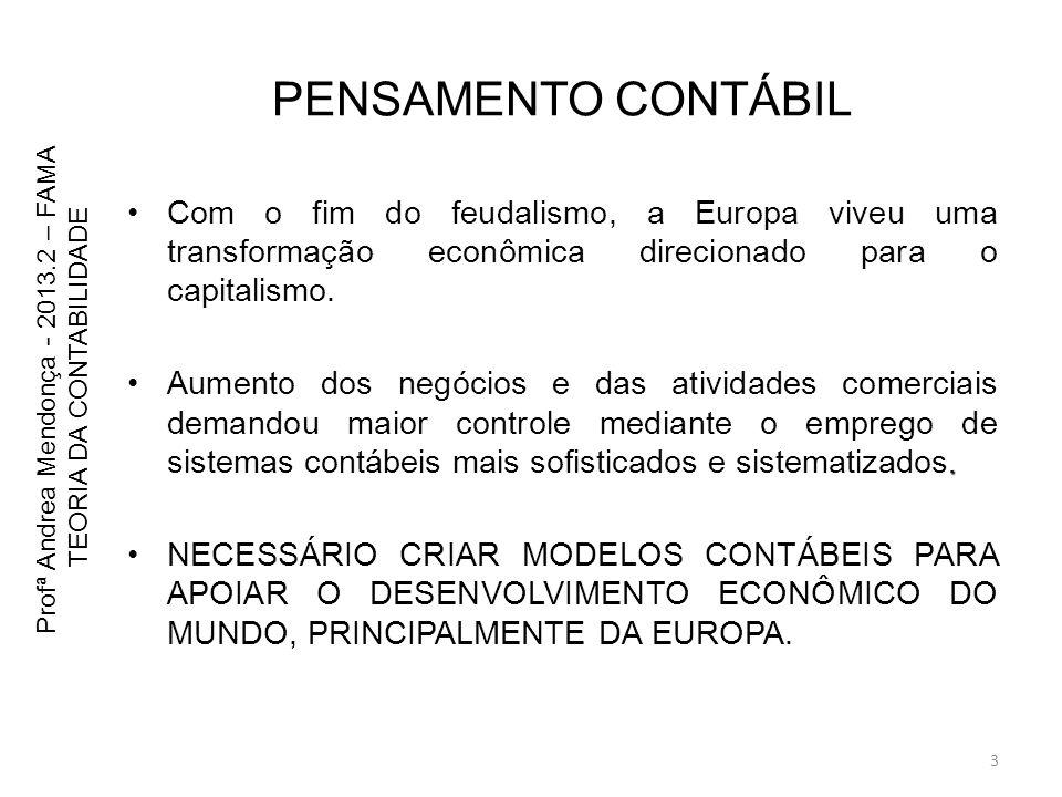 CONTISMO – Bases 1586 TOMOU COMO OBJETO DA CONTABILIDADE A CONTA INFLUENCIADO PELO AMBIENTE DA ÉPOCA ONDE A TERRA ERA A BASE DO PATRIMÔNIO E A INFORMAÇÃO A PREDOMINANTE, MAS COM O USO DE POUCAS CONTAS Profª Andrea Mendonça - 2013.2 – FAMA TEORIA DA CONTABILIDADE