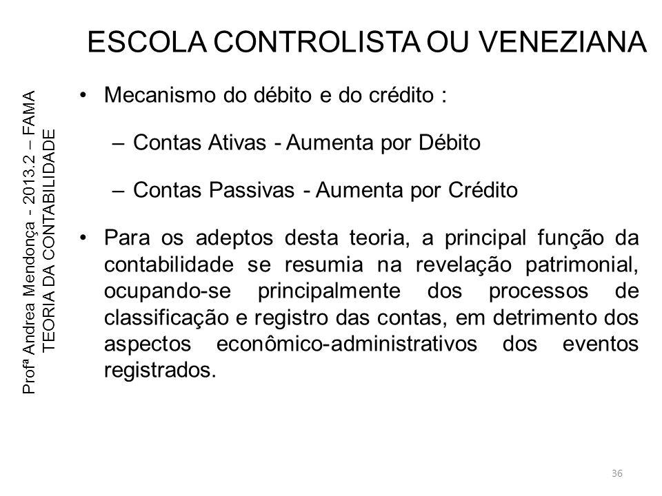 ESCOLA CONTROLISTA OU VENEZIANA Mecanismo do débito e do crédito : –Contas Ativas - Aumenta por Débito –Contas Passivas - Aumenta por Crédito Para os