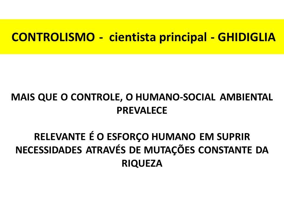CONTROLISMO - cientista principal - GHIDIGLIA MAIS QUE O CONTROLE, O HUMANO-SOCIAL AMBIENTAL PREVALECE RELEVANTE É O ESFORÇO HUMANO EM SUPRIR NECESSID